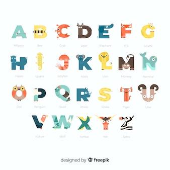 Alfabet kolekcji zwierząt dzikich w szkole