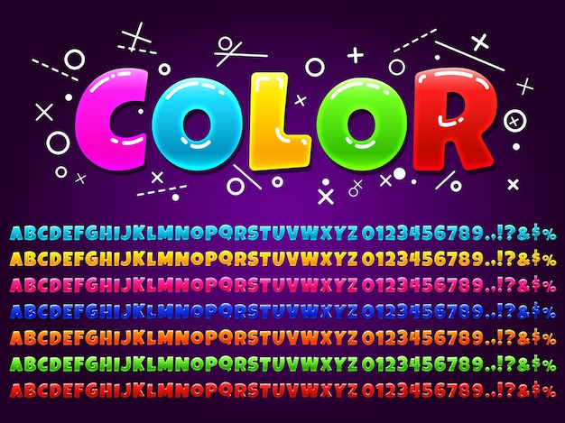 Alfabet kolorów do gry kreskówki.