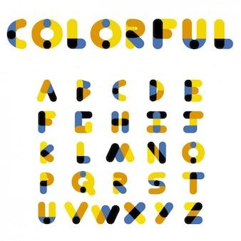 Alfabet kolorowe czcionki
