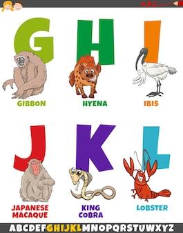 Alfabet kreskówek z komiksowymi postaciami zwierząt
