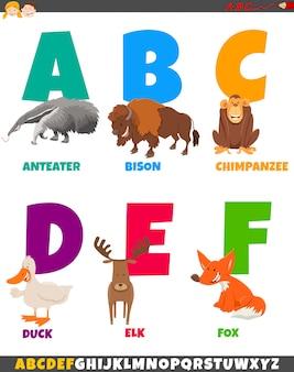 Alfabet kreskówka z postaciami zwierząt
