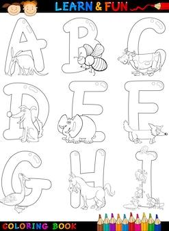 Alfabet kreskówka ze zwierzętami do kolorowania