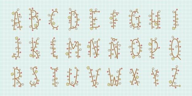 Alfabet kwiatowy kawaii