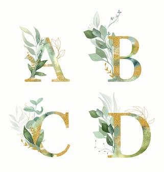 Alfabet kwiatowy, zestaw liter - a, b, c, d z akwarelą zielony i złoty liść.