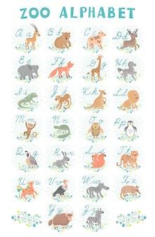 Alfabet ładny zoo. zwierzęta zabawne kreskówki. litery. nauczyć się czytać i pisać.