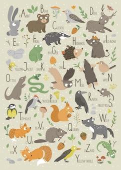 Alfabet leśny dla dzieci. śliczne płaskie abc ze zwierzętami leśnymi. zabawny plakat do nauki czytania w układzie pionowym.