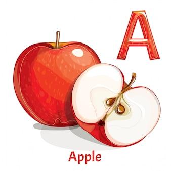 Alfabet, litera a jabłka