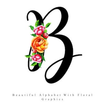 Alfabet litera b akwarela kwiatowy tło