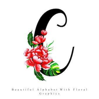 Alfabet litera c akwarela kwiatowy tło