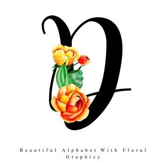 Alfabet litera d akwarela kwiatowy tło