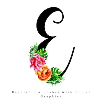 Alfabet litera e akwarela kwiatowy tło