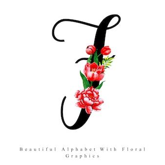 Alfabet litera f akwarela kwiatowy tło