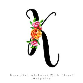 Alfabet litera k akwarela kwiatowy tło