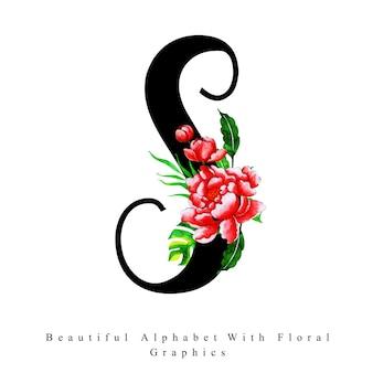 Alfabet litera s akwarela kwiatowy tło