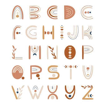 Alfabet literowy w stylu boho z kwiatowymi elementami i tęczą.