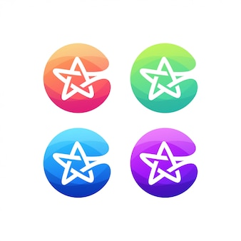 Alfabet litery c logo gwiazda