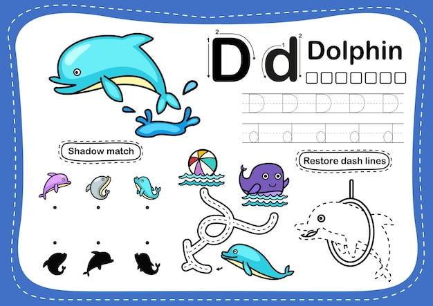 Alfabet litery d-delfinów ćwiczenia ze słownictwem kreskówki
