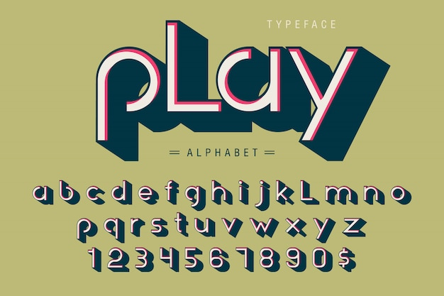 Alfabet, litery i cyfry wyświetlają projekt czcionki 3d