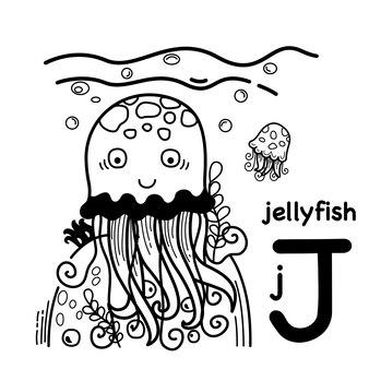 Alfabet litery j meduzy w wyciągnąć rękę