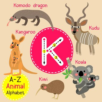 Alfabet litery k zoo