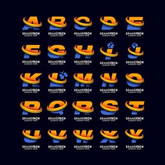 Alfabet litery logo szablon w stylu gradientów