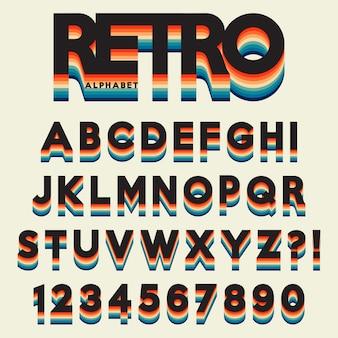 Alfabet litery stylizowane w stylu retro