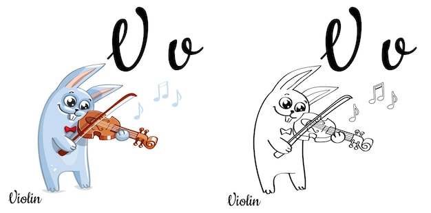 Alfabet litery v dla edukacji dzieci z zabawnym króliczkiem i skrzypcami. odosobniony. naucz się czytać. kolorowanka.