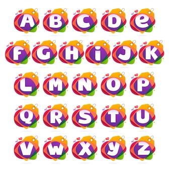 Alfabet logo z tagiem sprzedaży.