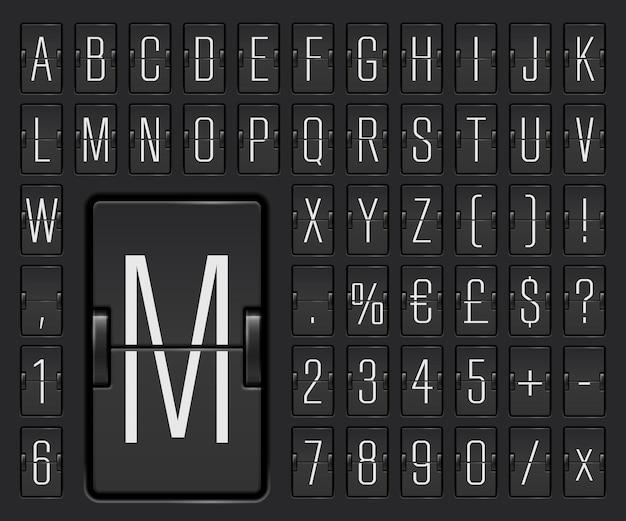 Alfabet mechanicznej tablicy wyników terminalu lotniska, aby wyświetlić miejsce docelowe i harmonogram ilustracji wektorowych. czarna czcionka z cyframi do wyświetlania informacji o odlocie lub przylocie.