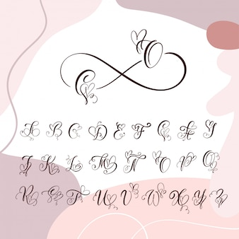 Alfabet monogram odręcznie serca kaligrafii. czcionka kursywowa z rozkwitającą czcionką serca