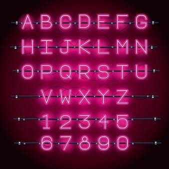 Alfabet neonowych czcionek