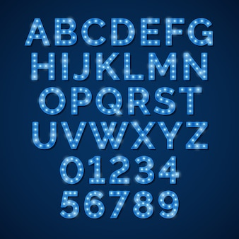 Alfabet niebieska lampa neonowa