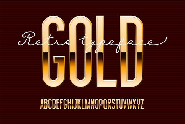 Alfabet nowoczesny skondensowany złoty. metalowa czcionka bezszeryfowa. technologia typografia złote litery.