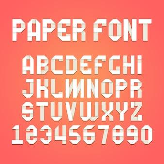 Alfabet origami. papierowa składana czcionka typografia wstążka zestaw liter cienia.