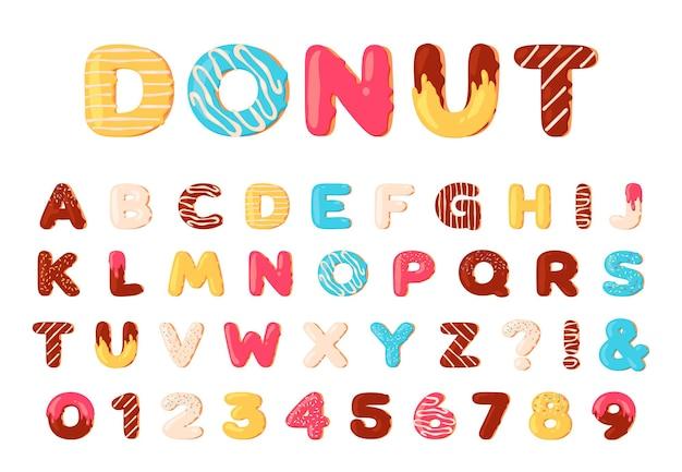 Alfabet pączków. słodki pączek litery i cyfry czcionki z lodami. kreskówka pieczone i przeszklone typu czekoladowego. deser abc wektor zestaw. ilustracja numer pączka i ciasta abc