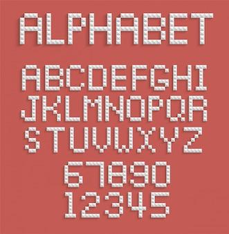Alfabet pikseli cyfr i liter