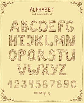 Alfabet pisma ręcznego, wektor ręcznie rysowane czcionki w stylu vintage