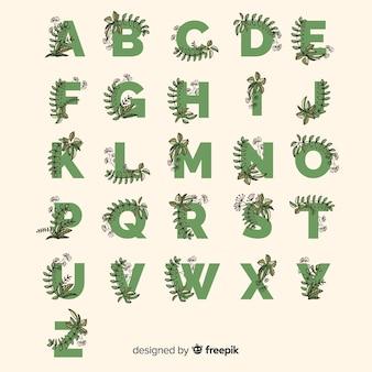 Alfabet płaski z liści wyciągnąć rękę