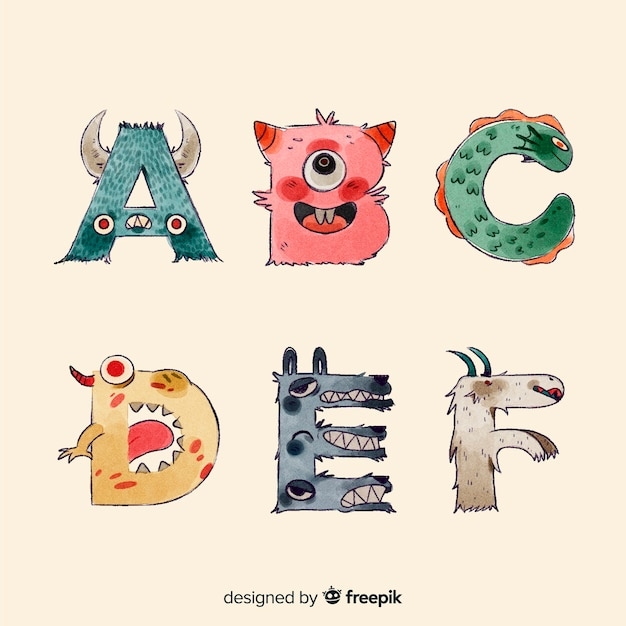 Alfabet potworów z bliska halloween