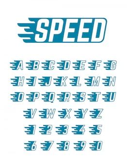 Alfabet prędkości latający wektor. szybki krój pisma dla zespołu wyścigowego, plakatów retro i odzieży sportowej
