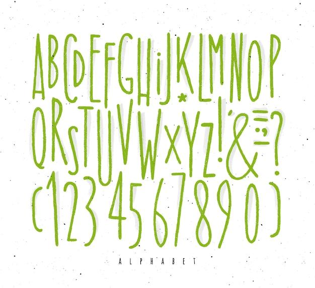 Alfabet proste zielone linie czcionek