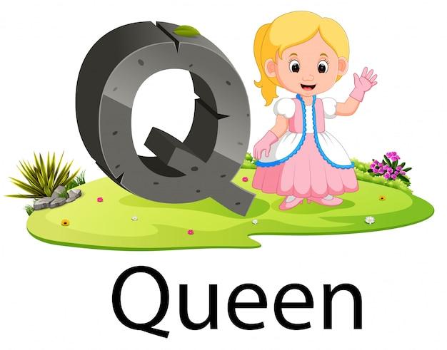 Alfabet q dla królowej z dobrą animacją obok
