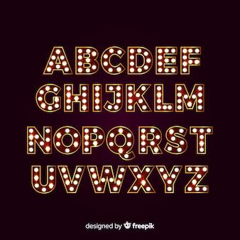 Alfabet reflektorów ze światłami teatralnymi