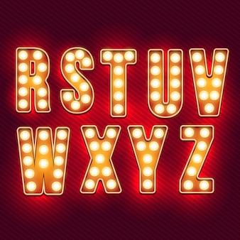 Alfabet retro. realistyczne litery vintage. żarówki neonowe. czerwone litery retro. zestaw starych listów vintage. świecić w ciemności.