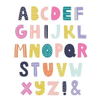 Alfabet skandynawski. ręcznie rysowane czcionki graficzne.