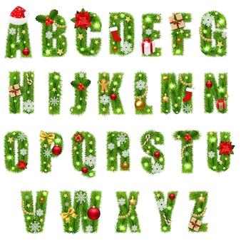 Alfabet świąt z bożonarodzeniowych zabawek