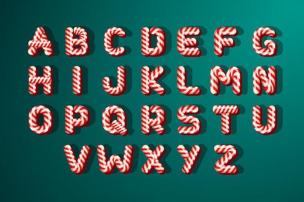 Alfabet świąteczny z trzciny cukrowej
