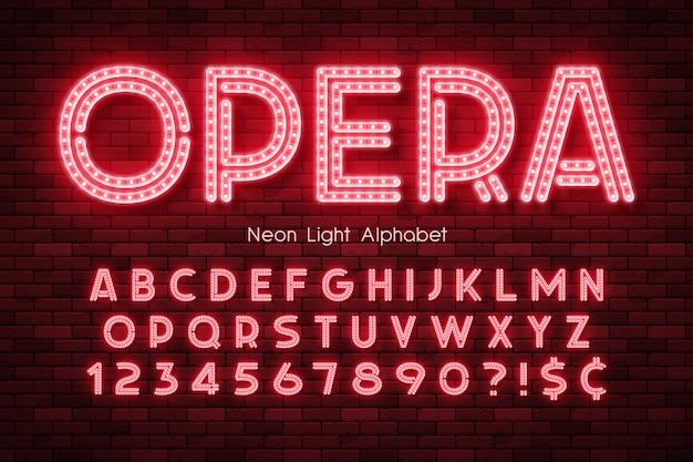 Alfabet światła neonowego, dodatkowe świecące czcionki.