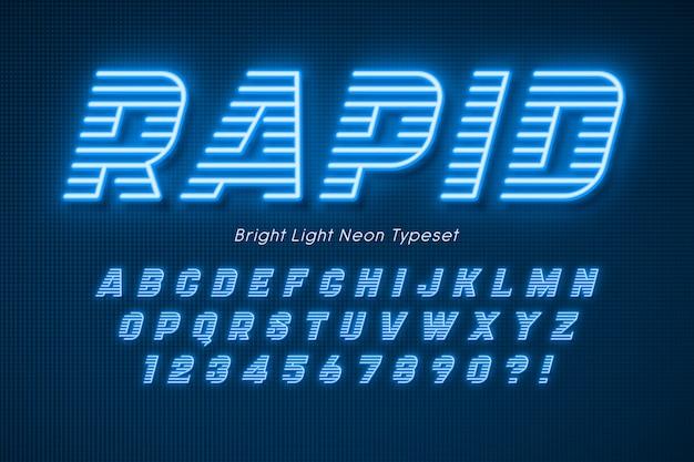 Alfabet światła Neonowego, Dodatkowe świecące Czcionki. Premium Wektorów