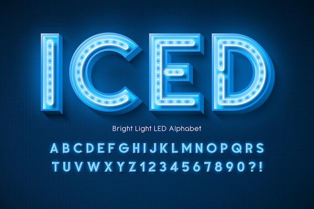 Alfabet światła neonowego, dodatkowo świecąca nowoczesna czcionka.